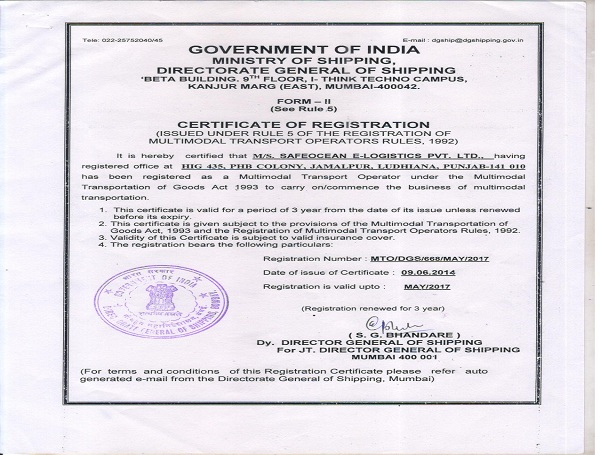 Multimodal Transport Operator Licenced by Director General of Shipping Govt of India