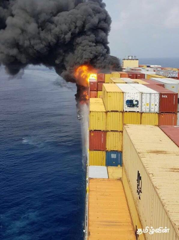 VLCS MSC DANIELA caught fire while en route from Singapore to Suez in Indian ocean west of Sri Lanka at night Apr 4